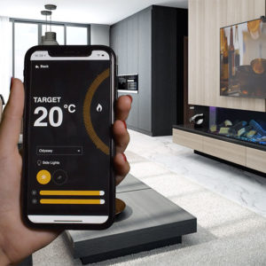 Heating app being demonstrated on a phone